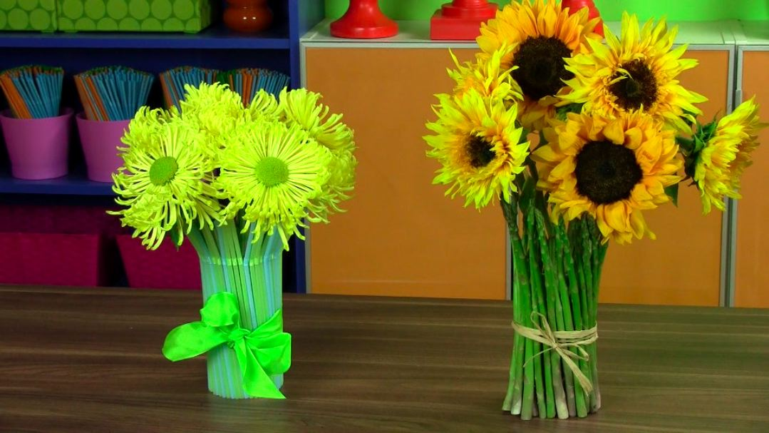 How To Make A Drinking Straw Vase Arrangement Easy Floral