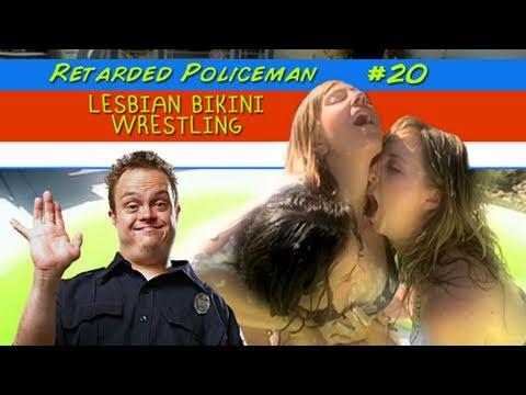 Retarded Policeman Lesbian Bikini Wrestling 29