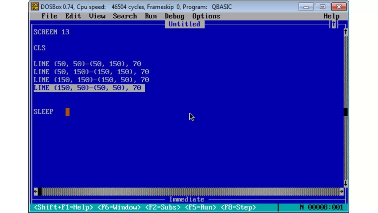 Qbasic screen
